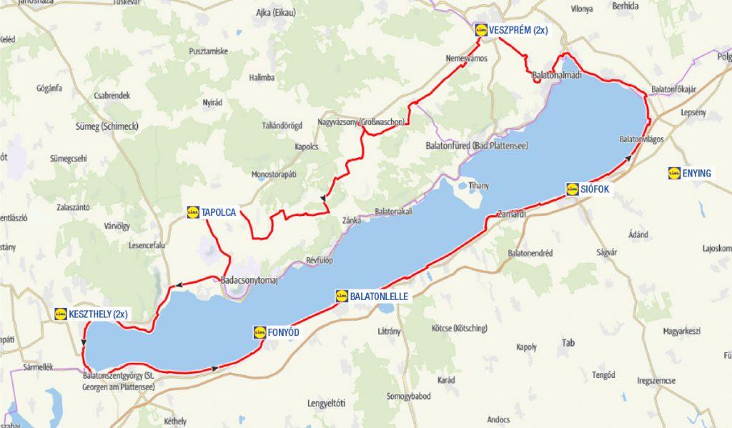 Bicikliút térkép a Balaton körül