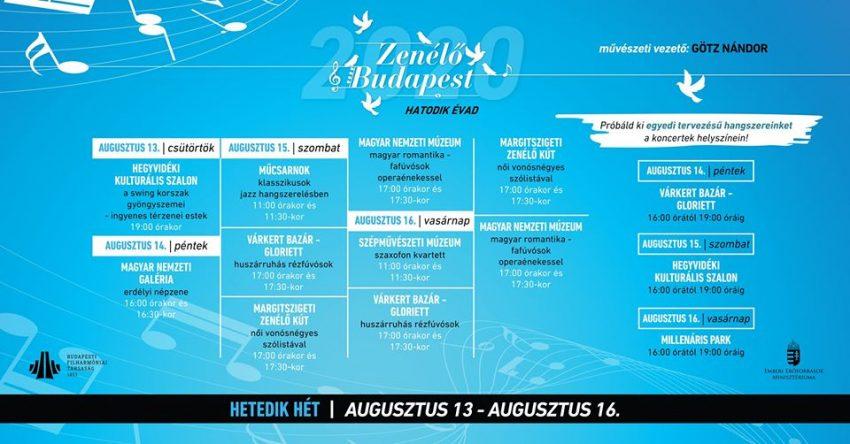 Ingyenes programok Budapesten: Zenélő Budapest - hetedik hét (2020. augusztus 13-16.)