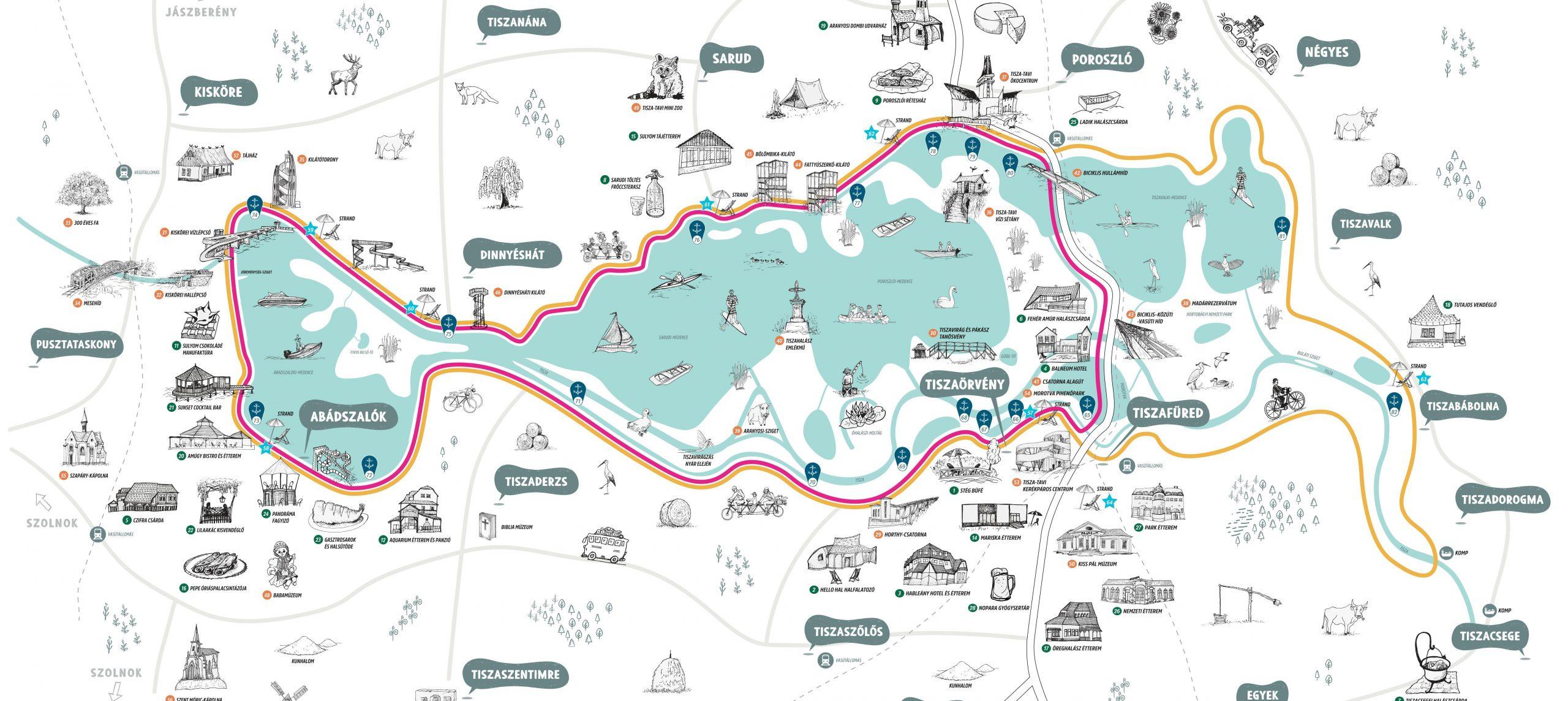 Térkép készült a Tisza-tó legjobb strandjairól, vendéglátóhelyeiről és látnivalóiról